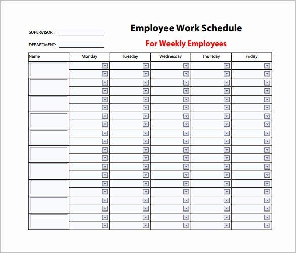 Employee Weekly Work Schedule Template Best Of 9 Weekly Work Schedule Templates Pdf Doc