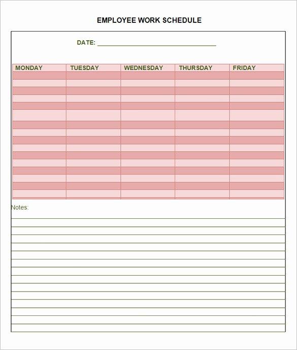 Employee Weekly Work Schedule Template Elegant 10 Employee Schedule Templates Pdf Word Excel