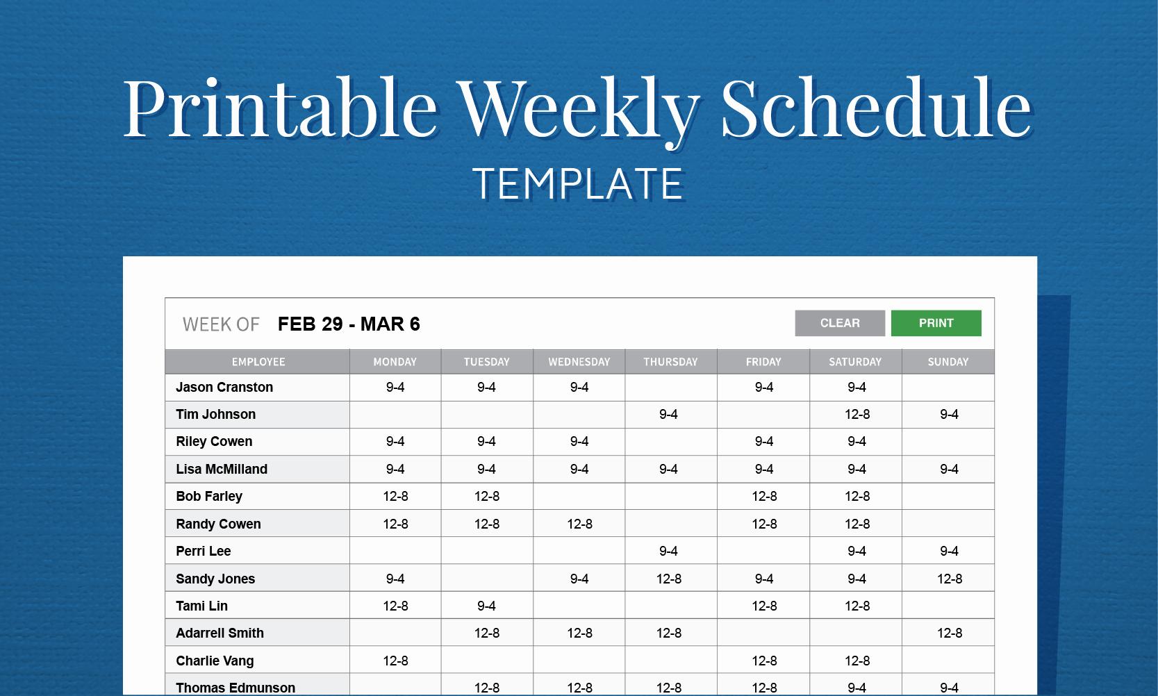 Employee Weekly Work Schedule Template Elegant Free Printable Work Schedule Template for Employee