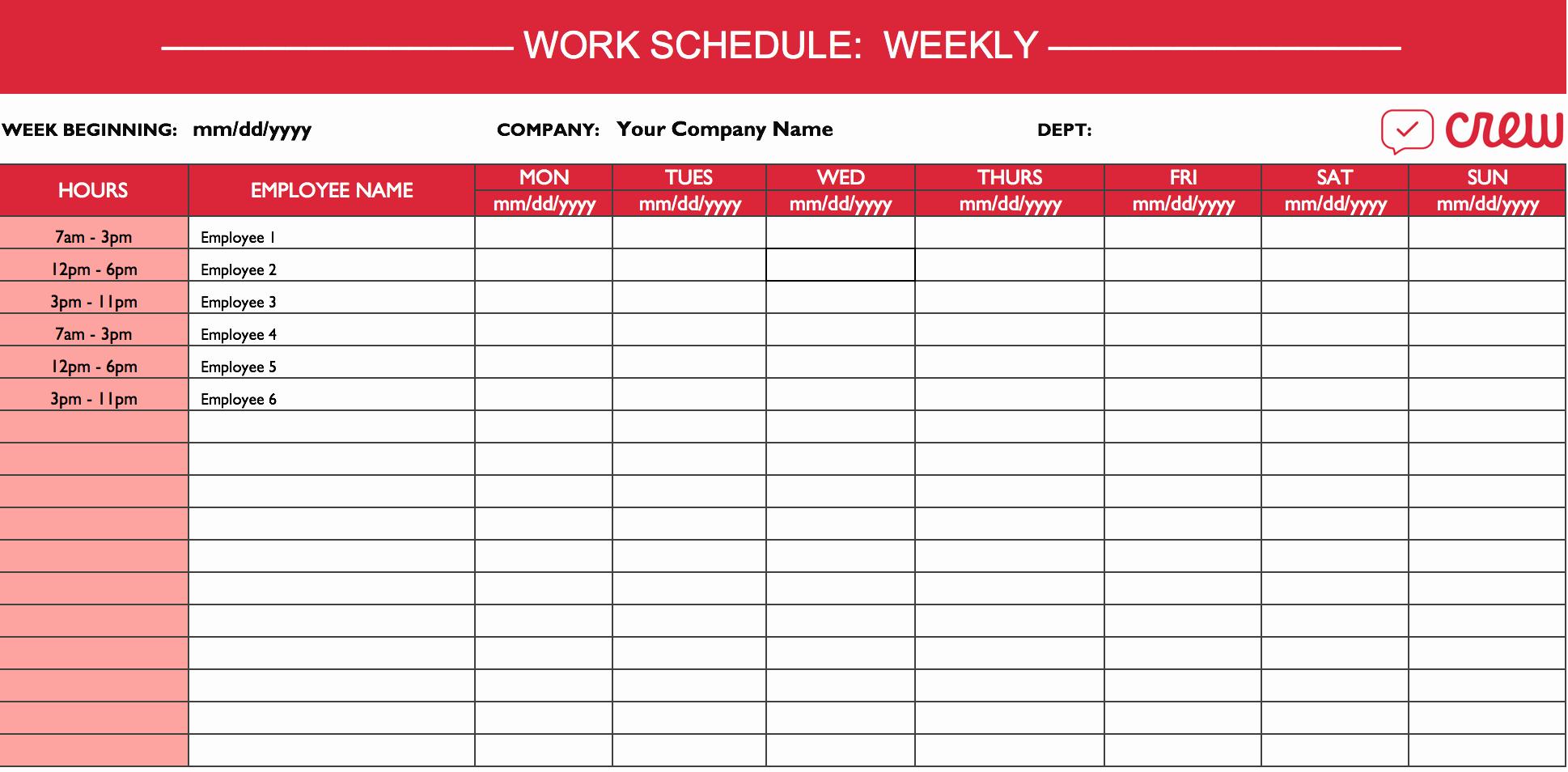 Employee Weekly Work Schedule Template Elegant Weekly Work Schedule Template I Crew