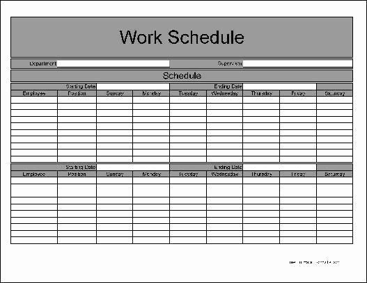 Employee Weekly Work Schedule Template Fresh Bi Weekly Employee Schedule Template Free Templates