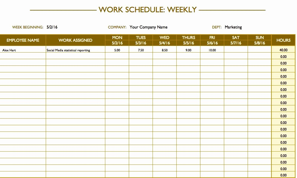 Employee Weekly Work Schedule Template Inspirational Free Work Schedule Templates for Word and Excel
