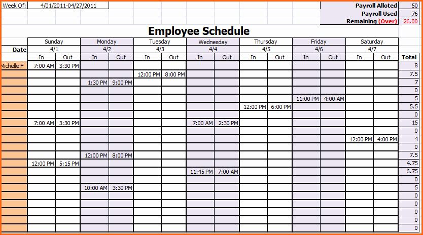 Employee Weekly Work Schedule Template Lovely 8 Weekly Work Calendar Bud Template Letter