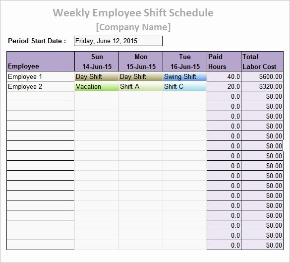 Employee Weekly Work Schedule Template Unique Work Schedule Templates – 9 Free Word Excel Pdf format