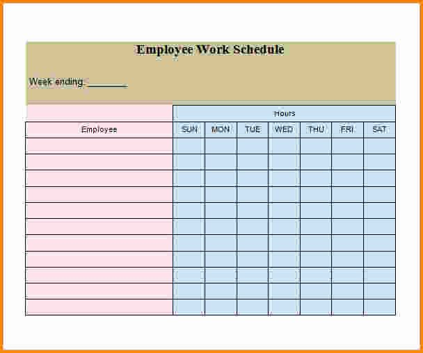 Employee Work Schedule Template Awesome 7 Weekly Employee Schedule Template