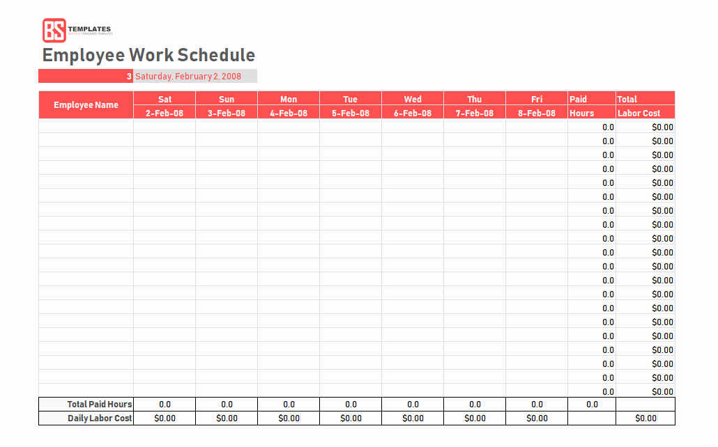 Employee Work Schedule Template Beautiful Work Schedule Template Daily Weekly