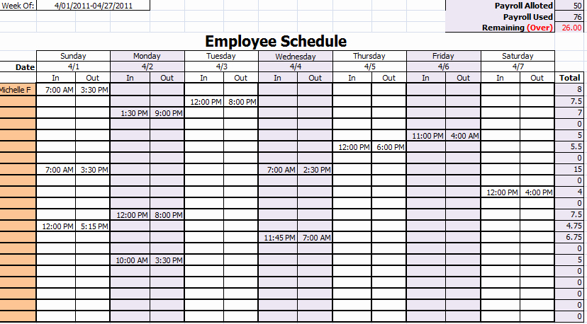 Employee Work Schedule Template Best Of Work Schedule Template