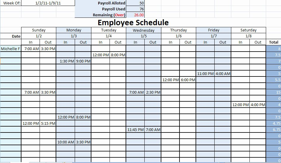 Employee Work Schedule Template Luxury Nursing Staff Schedule Template