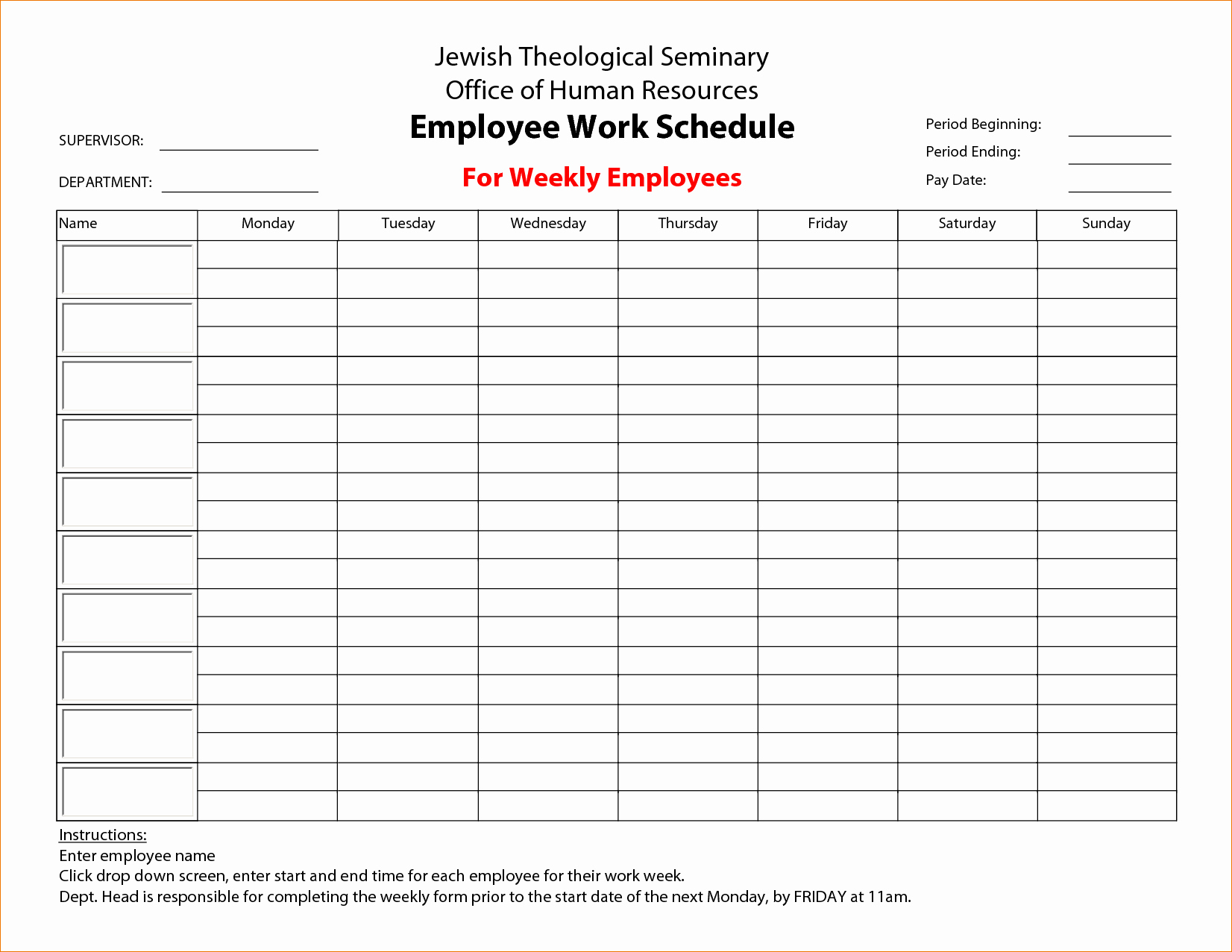 Employee Work Schedule Template Unique 3 Printable Work Schedule
