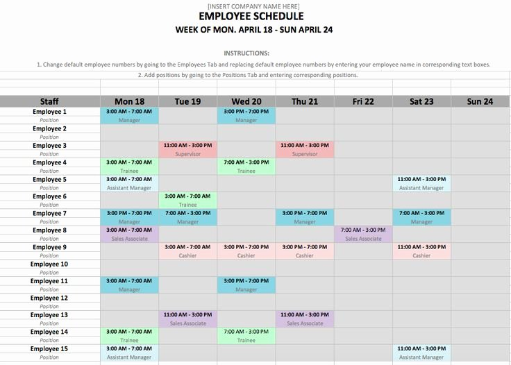 Employees Schedule Template Free Awesome How to Make A Work Schedule for Employees Free – Printable