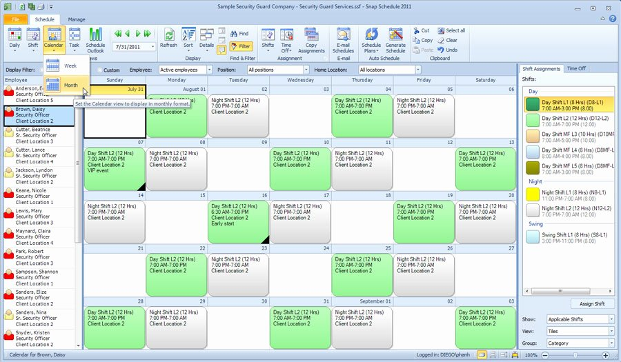 Employees Schedule Template Free Beautiful Monthly Employee Calendar Template