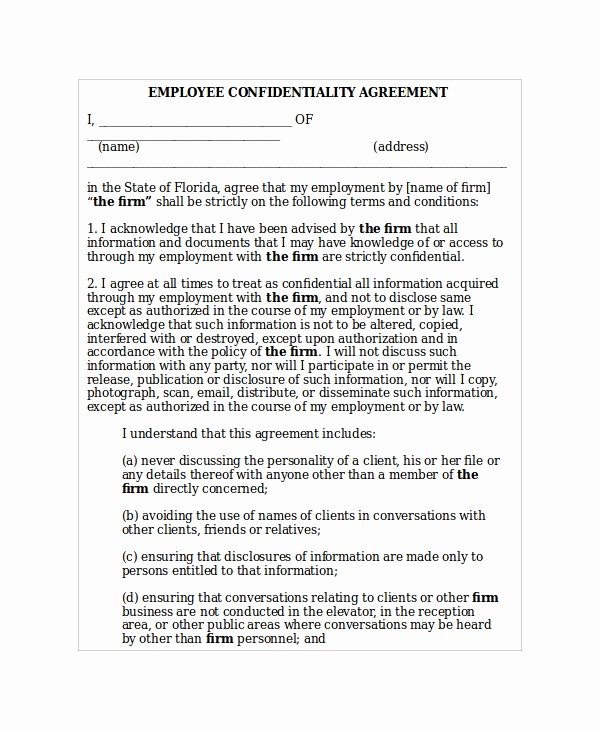 Employment Confidentiality Agreement Template Beautiful 20 Confidentiality Agreement Templates Free Sample