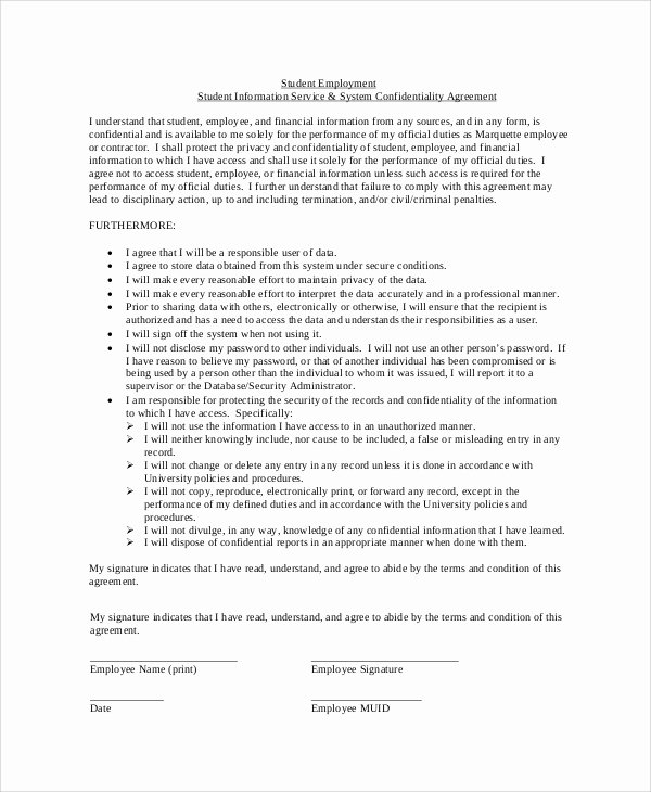 Employment Confidentiality Agreement Template Beautiful 7 Sample Financial Confidentiality Agreements