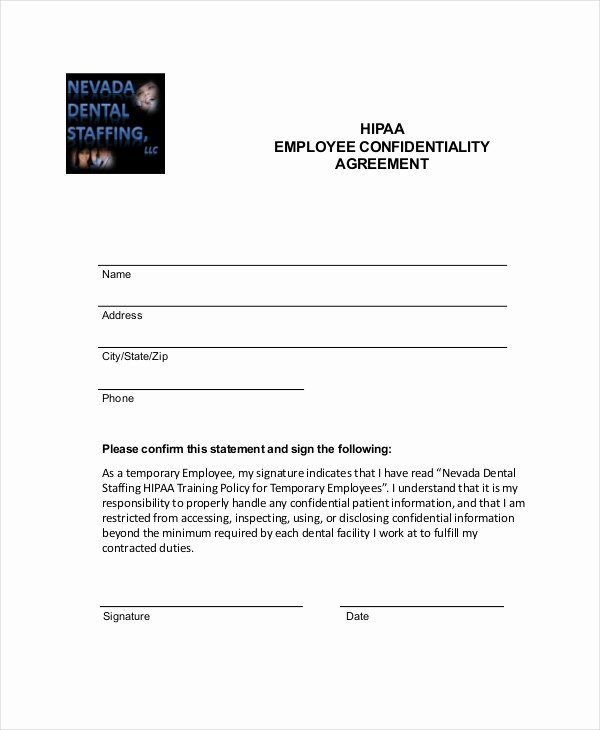 Employment Confidentiality Agreement Template Beautiful 9 Employee Confidentiality Agreement Templates & Samples