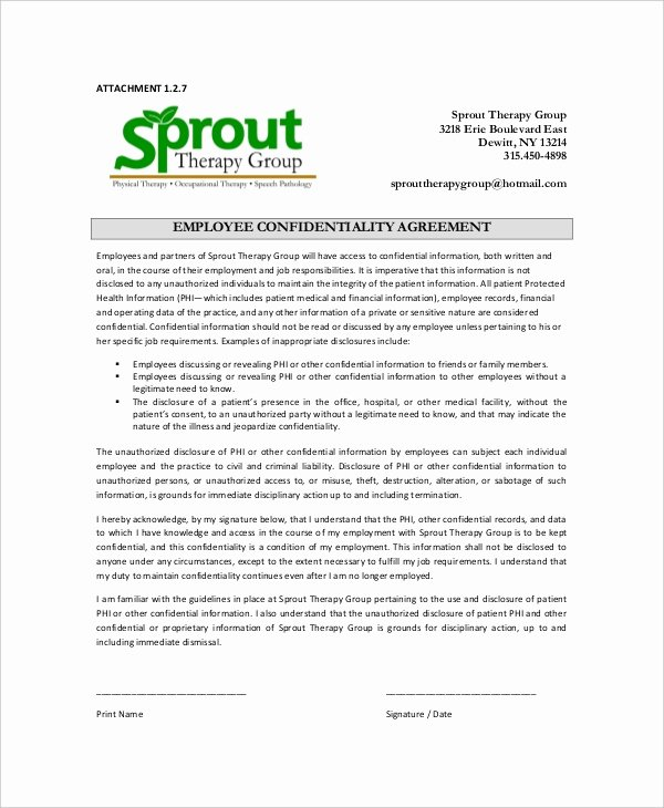 Employment Confidentiality Agreement Template Best Of 15 Employee Confidentiality Agreement Templates – Free