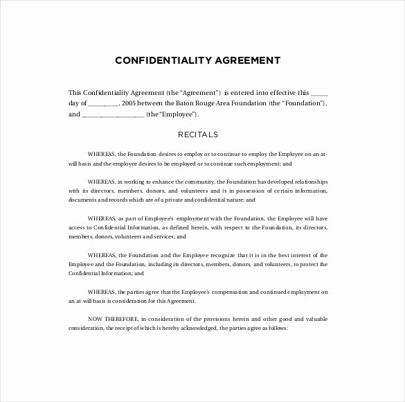 Employment Confidentiality Agreement Template Best Of Confidentiality Agreement Templates 9 Free Word