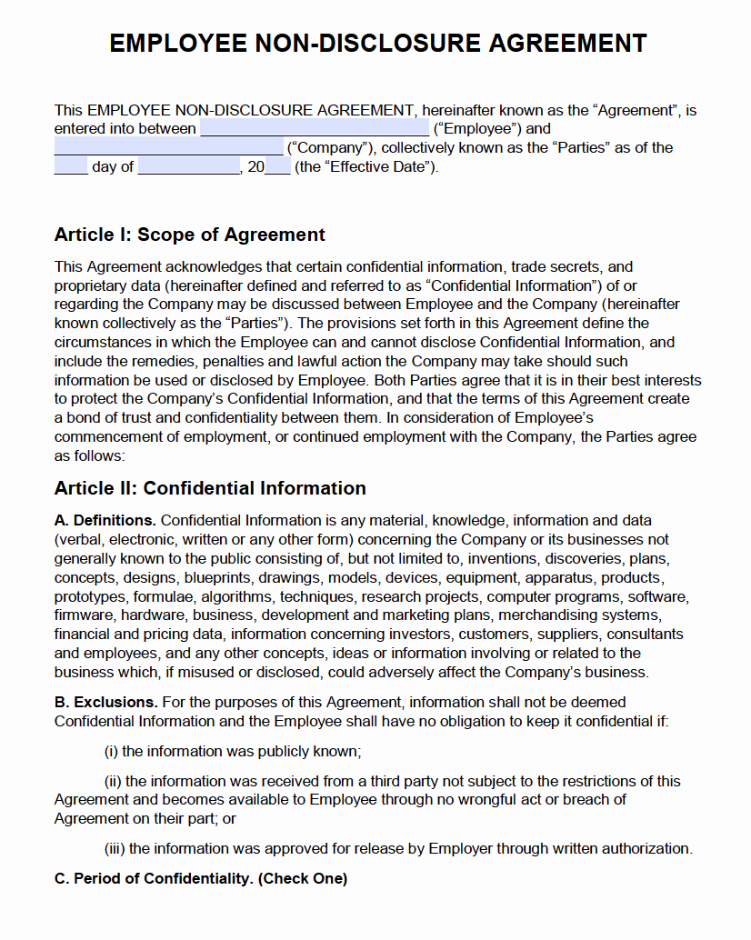 Employment Confidentiality Agreement Template Best Of Free Employee Non Disclosure Agreement Nda Pdf