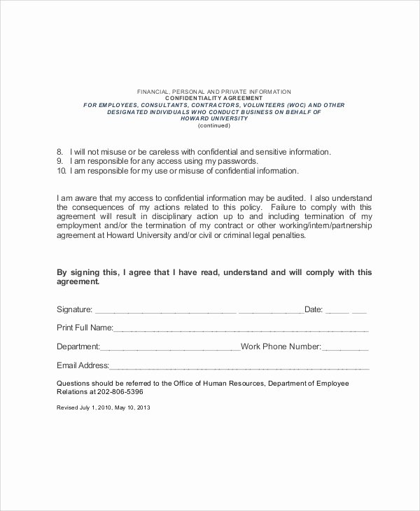 Employment Confidentiality Agreement Template Elegant 7 Sample Hr Confidentiality Agreements