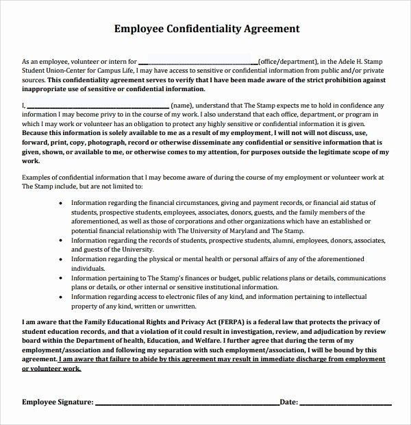 Employment Confidentiality Agreement Template Elegant 9 Employee Confidentiality Agreements