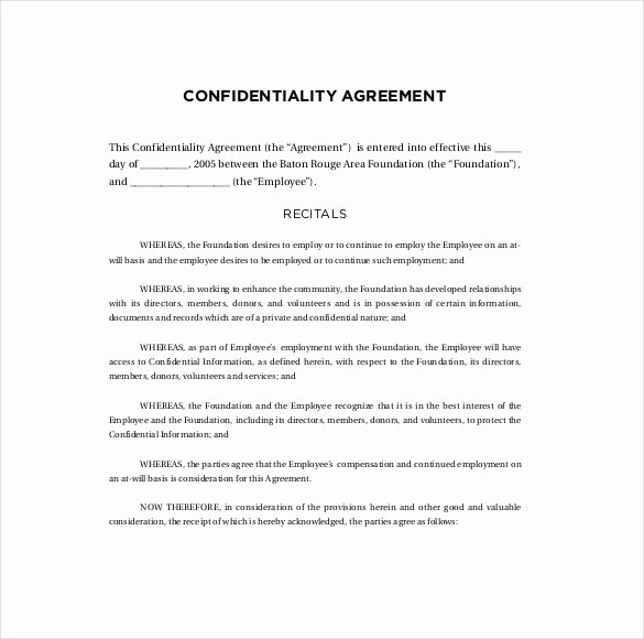 Employment Confidentiality Agreement Template Elegant Confidentiality Agreement Template Free Pdf Templates