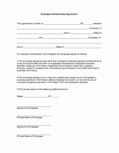 Employment Confidentiality Agreement Template Elegant Employee Confidentiality Agreement