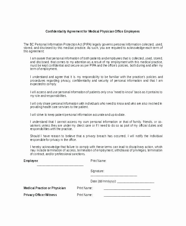 Employment Confidentiality Agreement Template Elegant Employee Confidentiality Agreement Template Physician