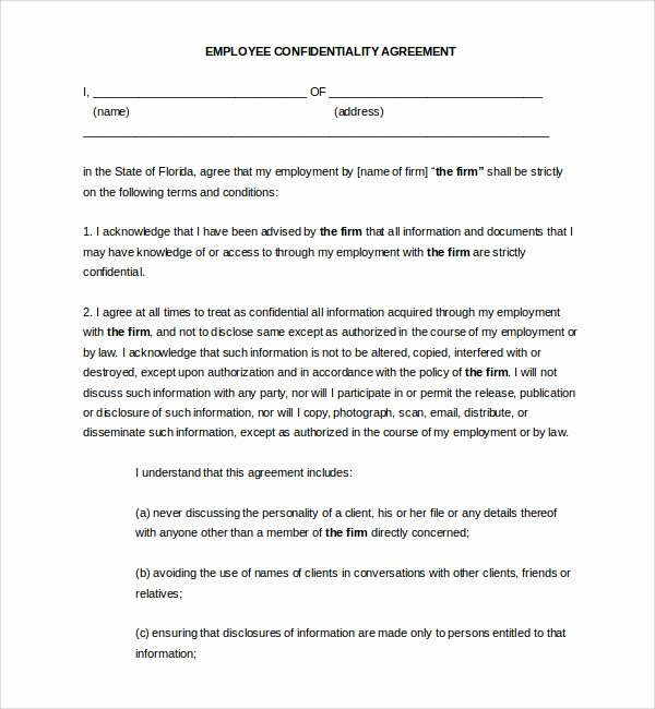 Employment Confidentiality Agreement Template Fresh 9 Employee Confidentiality Agreements