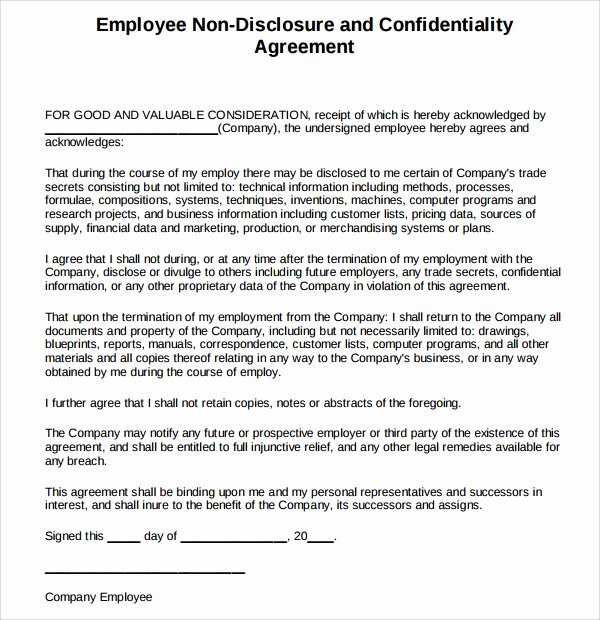Employment Confidentiality Agreement Template Inspirational 7 Volunteer Confidentiality Agreement Templates