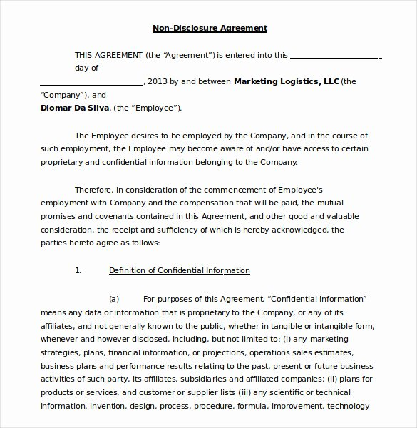 Employment Confidentiality Agreement Template Lovely 19 Word Non Disclosure Agreement Templates Free Download