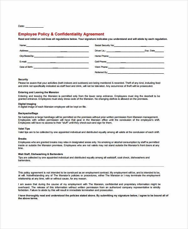Employment Confidentiality Agreement Template Lovely 8 Sample Staff Confidentiality Agreements