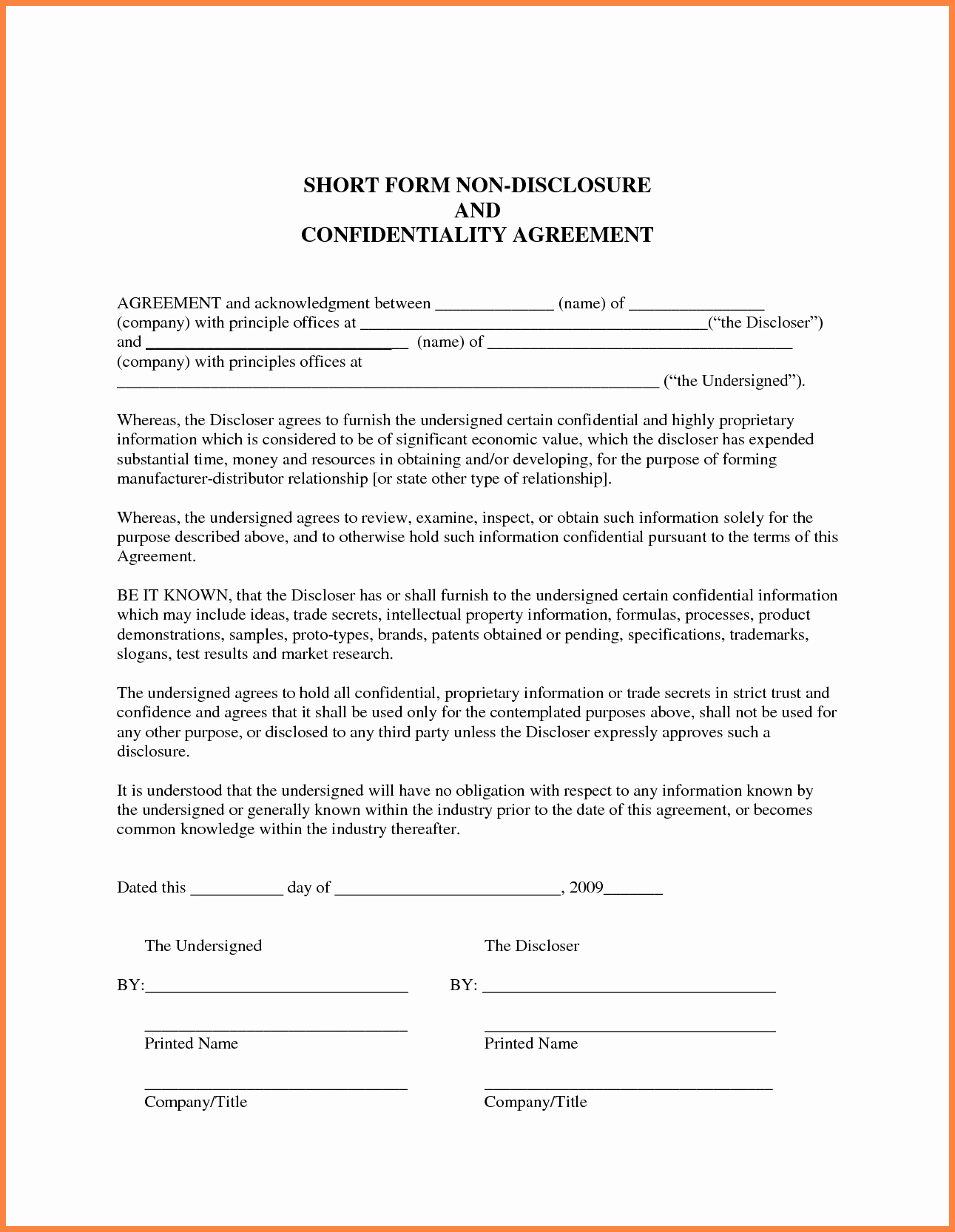 Employment Confidentiality Agreement Template Luxury 5 Employee Non Disclosure Agreement Sample