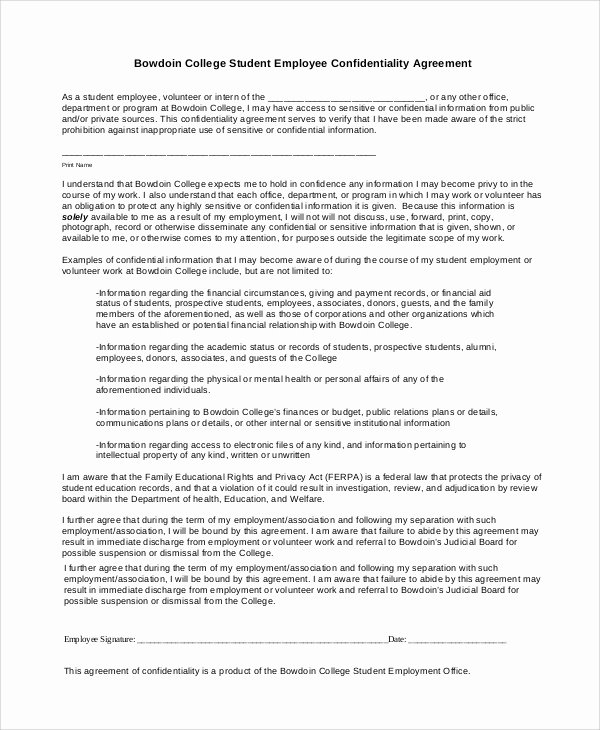 Employment Confidentiality Agreement Template Luxury 7 Sample Financial Confidentiality Agreements