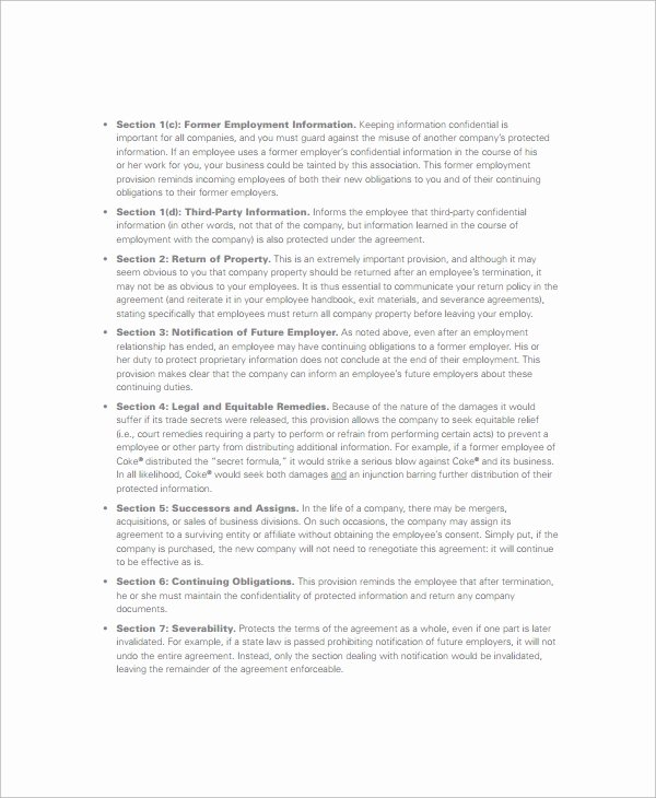 Employment Confidentiality Agreement Template Luxury 8 Sample Non Disclosure Agreements