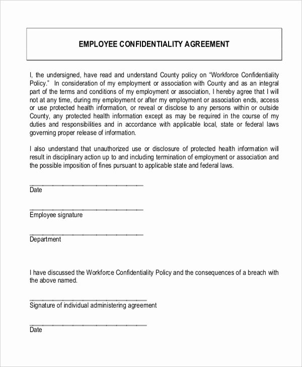 Employment Confidentiality Agreement Template Luxury Employee Confidentiality Agreement