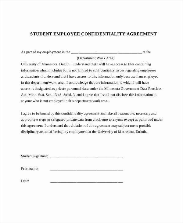 Employment Confidentiality Agreement Template New 11 Sample Confidentiality Agreement forms
