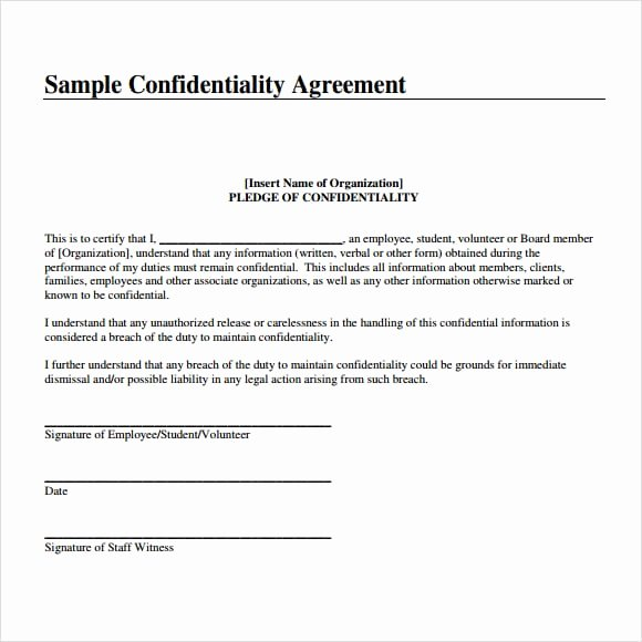 Employment Confidentiality Agreement Template New 7 Free Confidentiality Agreement Templates Excel Pdf formats