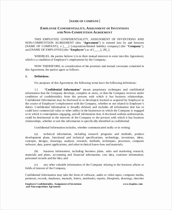 Employment Confidentiality Agreement Template Unique 8 Sample Employee Confidentiality Agreements