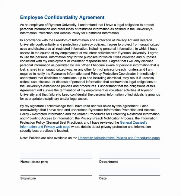 Employment Confidentiality Agreement Template Unique 9 Employee Confidentiality Agreements