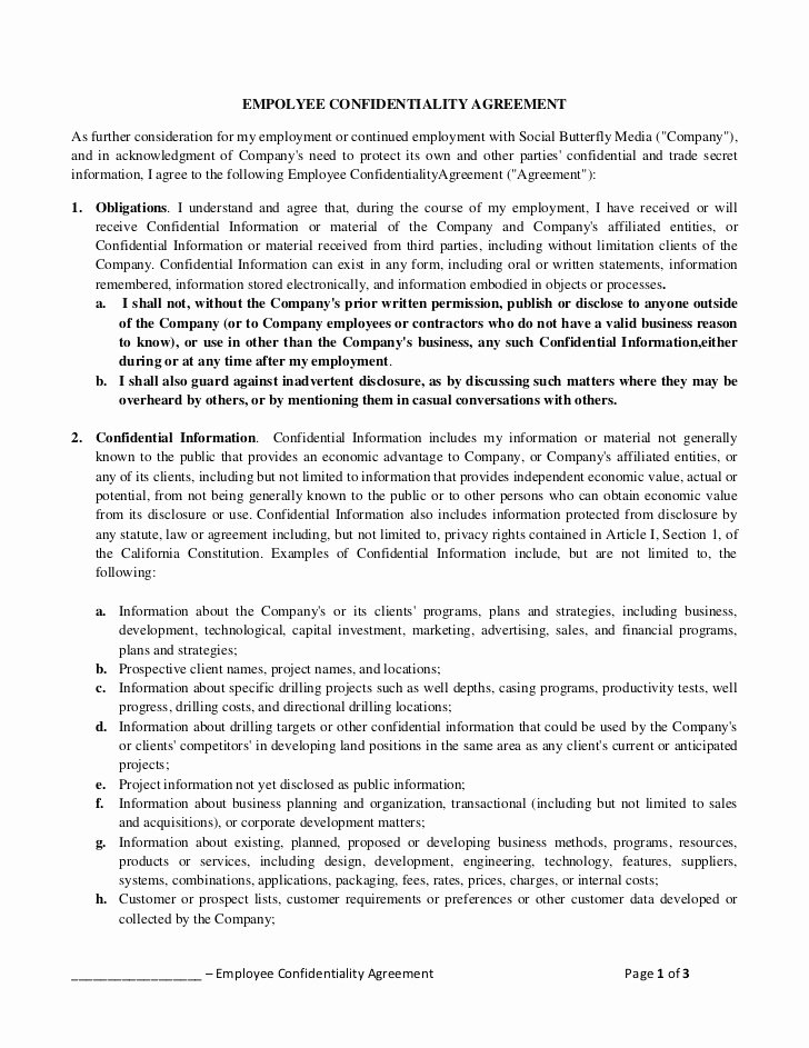 Employment Confidentiality Agreement Template Unique Empolyee Confidentiality Agreement