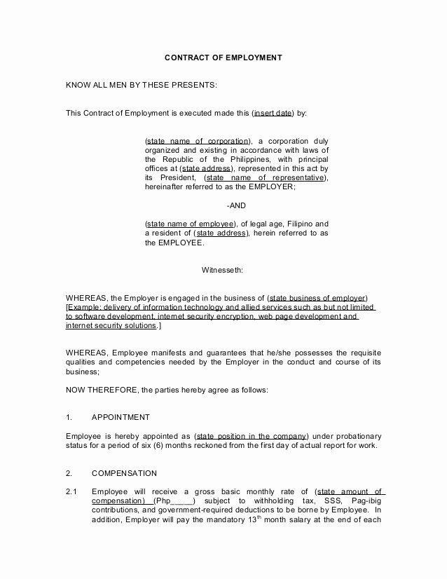 Employment Contract Template Word Fresh Employment Contract Template Word Philippines Templates