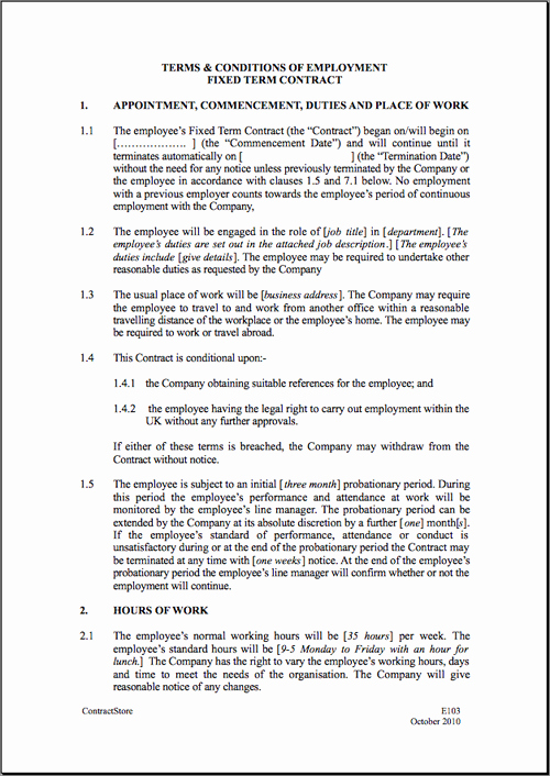 Employment Contract Template Word Fresh Fixed Short Term Employment Contract Template
