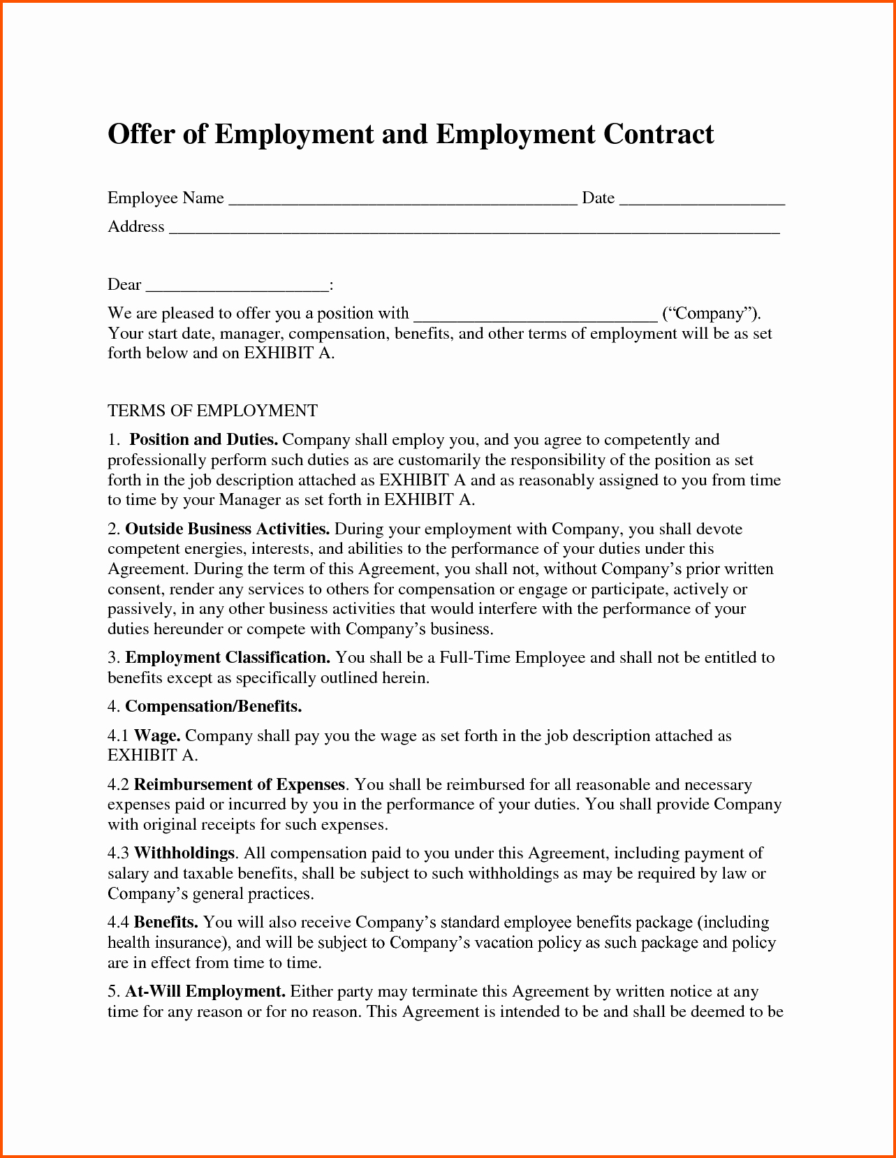 Employment Contract Template Word Fresh Free Employment Contract Template Word