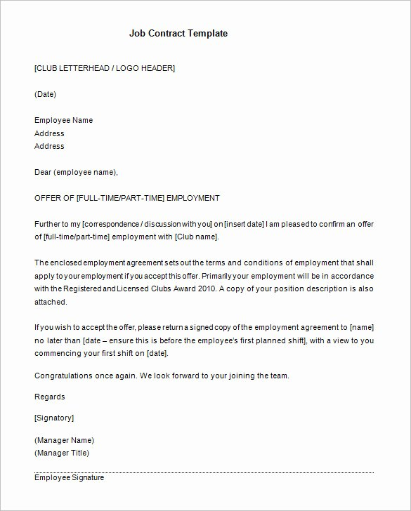 Employment Contract Template Word Inspirational 18 Job Contract Templates Word Pages Docs