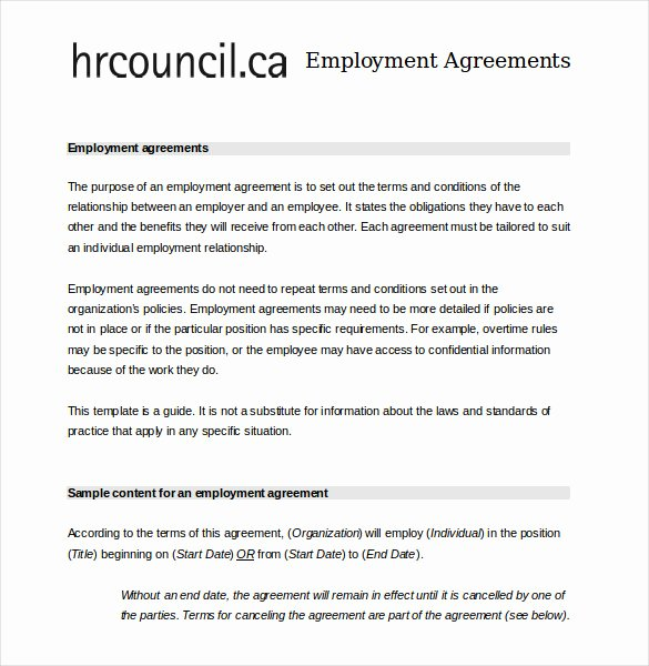 Employment Contract Template Word Lovely 21 Employee Agreement Templates – Word Pdf Apple Pages