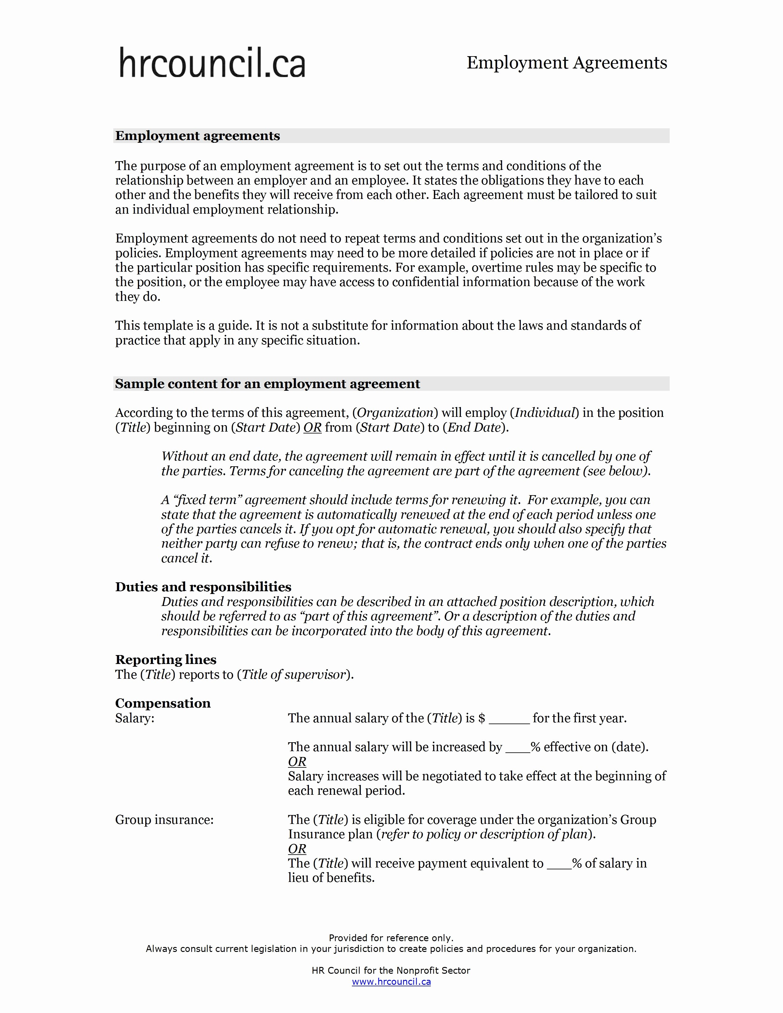 Employment Contract Template Word Unique Employment Contract Sample