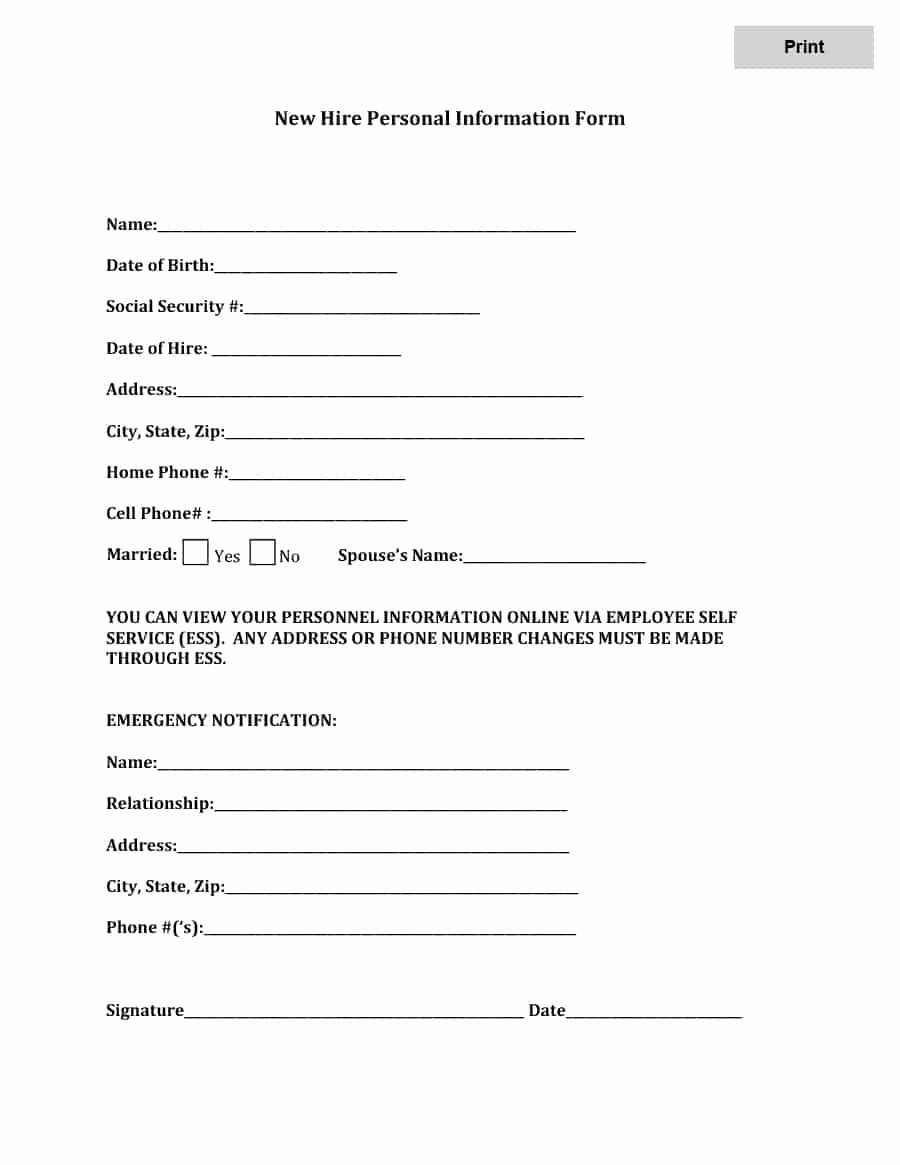 Employment Information form Template Awesome 47 Printable Employee Information forms Personnel