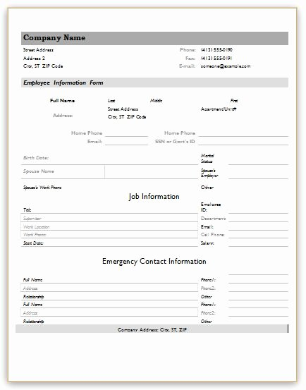 Employment Information form Template Awesome Employee Information forms