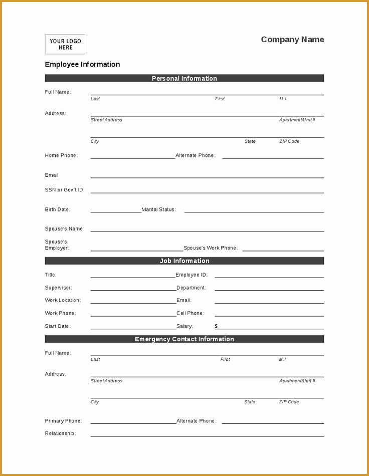 Employment Information form Template Beautiful Employee Personal Information form Template