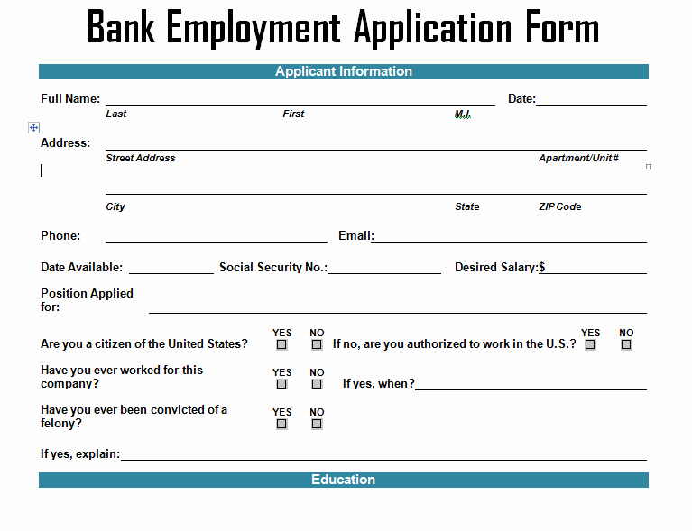 Employment Information form Template Fresh Bank Employment Application form Template Project