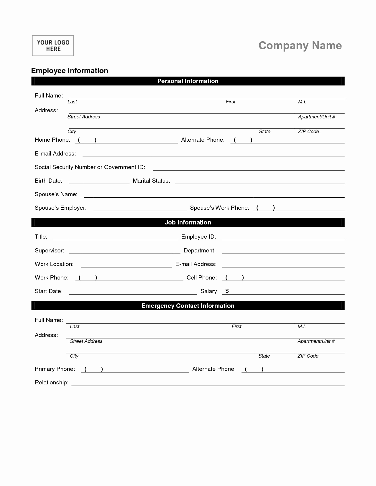 Employment Information form Template Fresh Employee Personal Information form Template